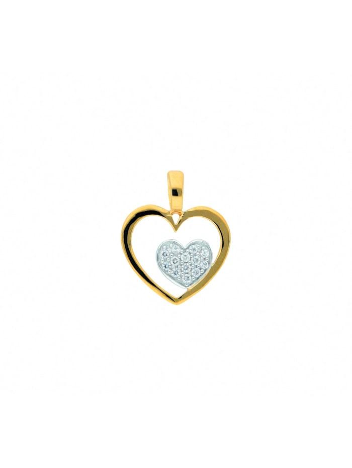 1001 Diamonds Damen Goldschmuck 585 Gold Anhänger Herz mit Zirkonia, gold