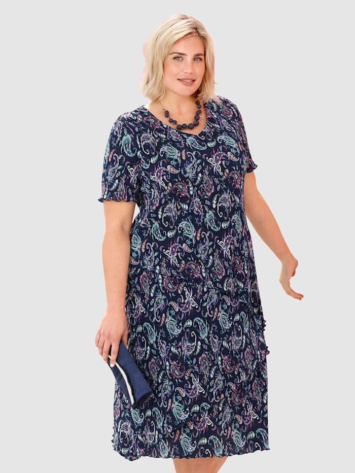m. collection Robe plissée au look superposé actuel, Marine/Rose/Jaune