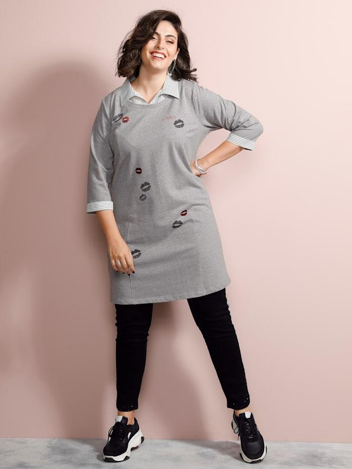 MIAMODA Longsweatshirt mit Hemdkragen, Grau