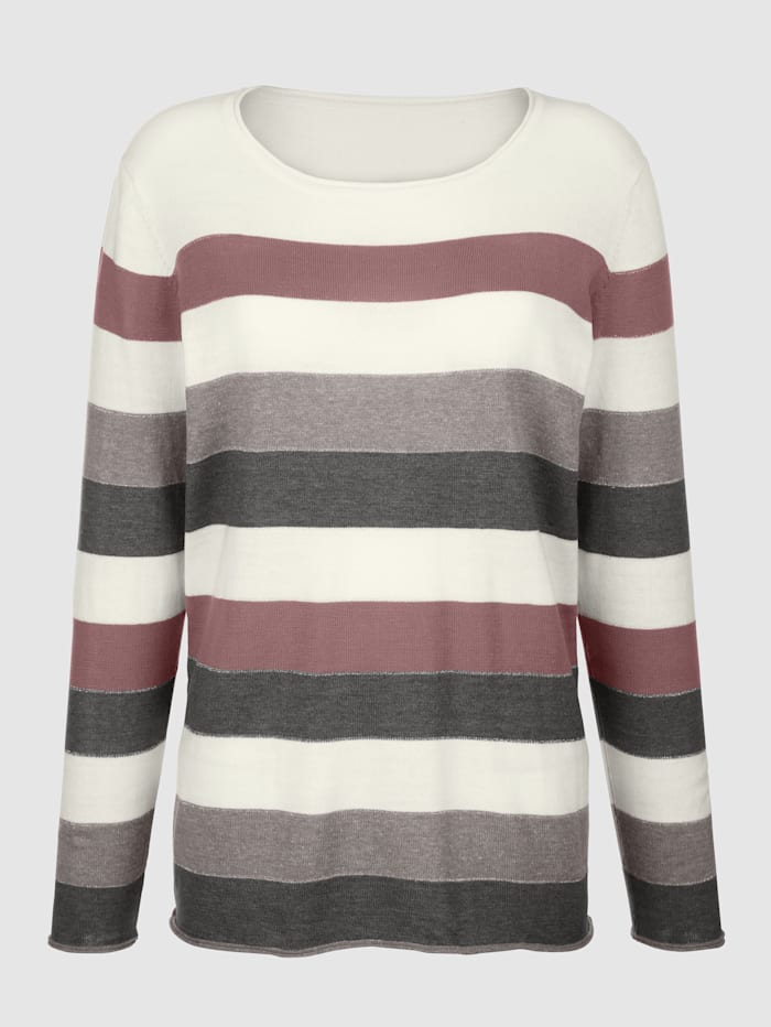 Dress In Pullover im Streifendessin, Rosé/Grau