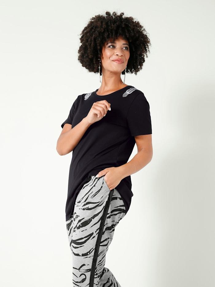 Angel of Style Shirt mit Glitzer-Details an den Schultern, Schwarz