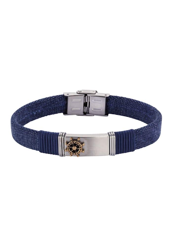 nox Armband Edelstahl 21cm Matt/Glanz, blau