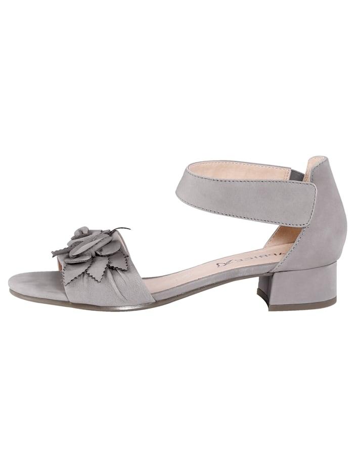 Sandals with floral appliqués