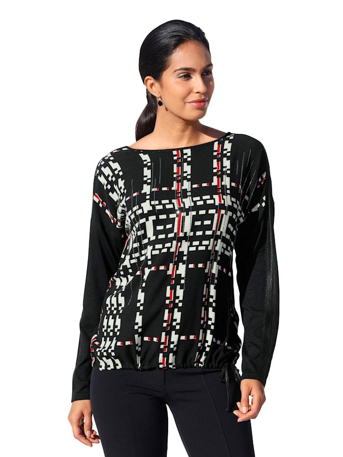 Betty Barclay Shirt mit grafischem Print und Strasssteinen im Vorderteil, Schwarz/Rot/Creme-Weiß