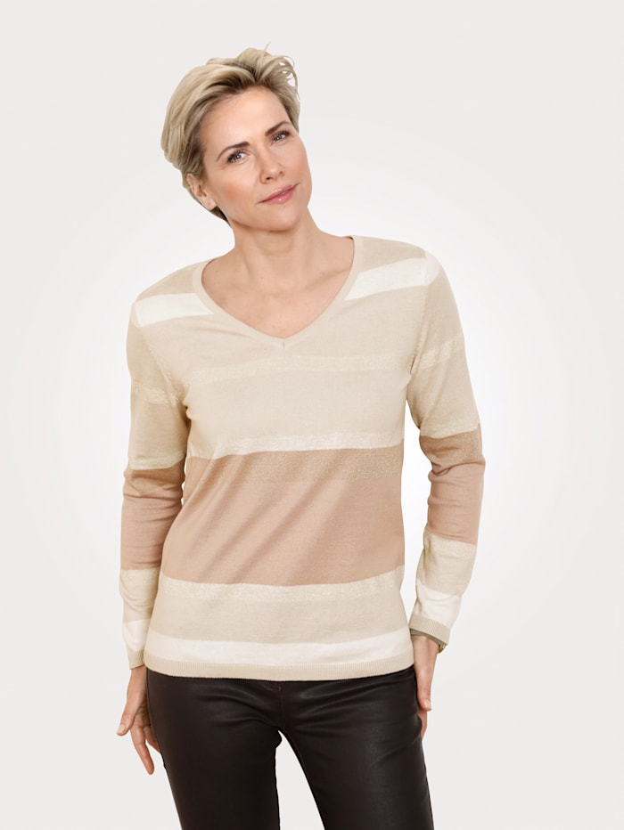 MONA Pullover mit Glanzgarn, Beige/Ecru/Goldfarben