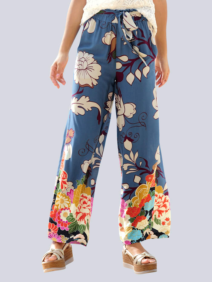 Alba Moda Strandhose mit Blumenbordüre, Blau