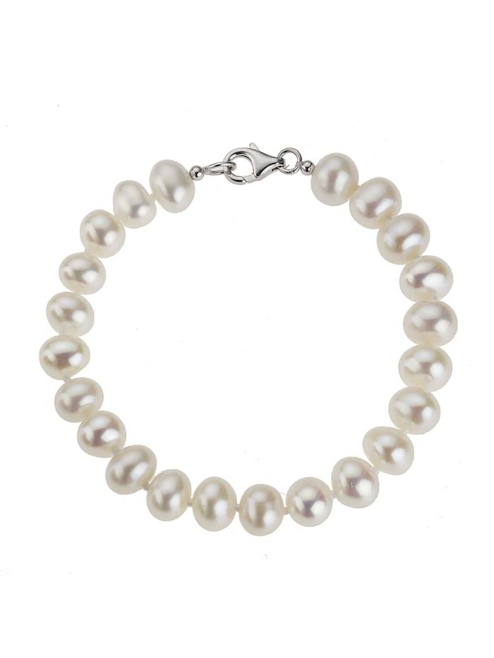 ZEEme Armband 925/- Sterling Silber Süßwasserzuchtperle weiß 19cm Glänzend, weiß