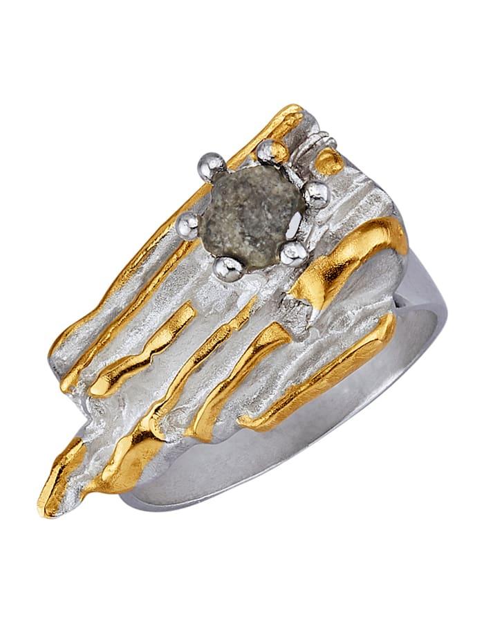 Bague Avec diamant brut, Coloris argent