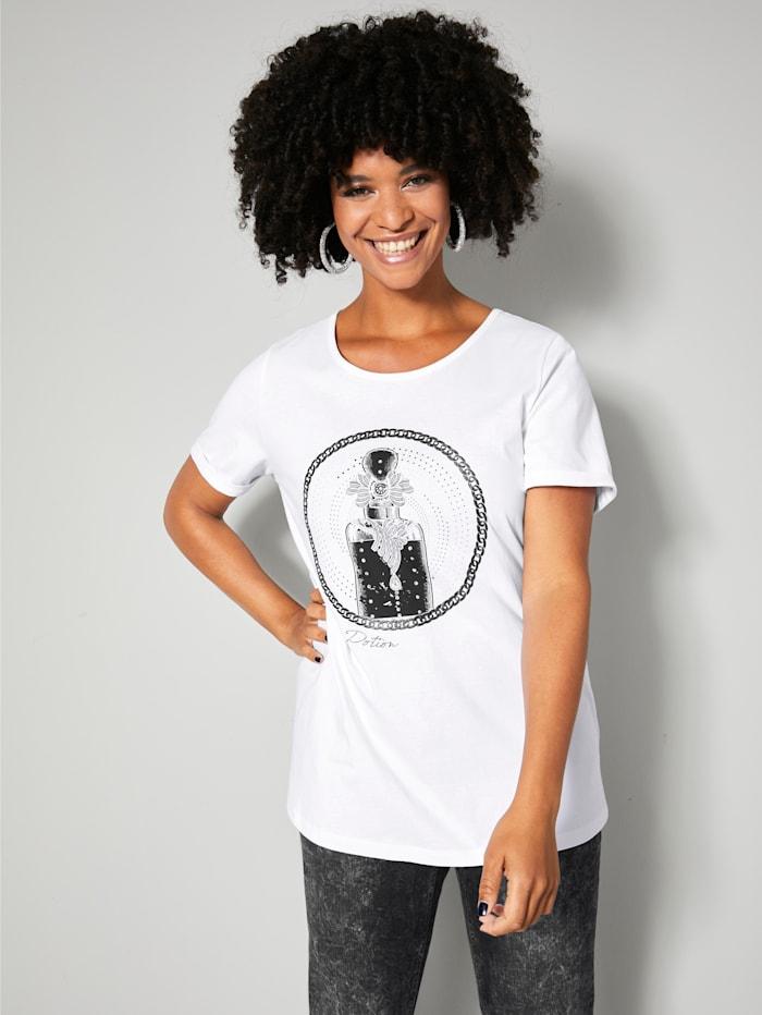 Angel of Style Shirt met glittereffect en strassteentjes, Wit/Zwart