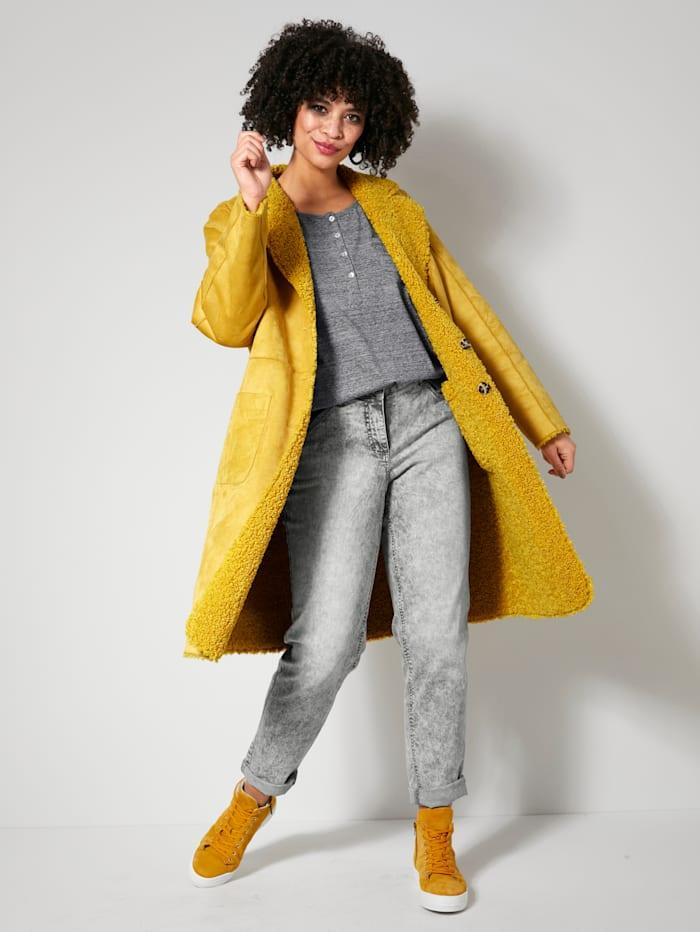 Angel of Style Keerbare jas met platte kraag, Geel