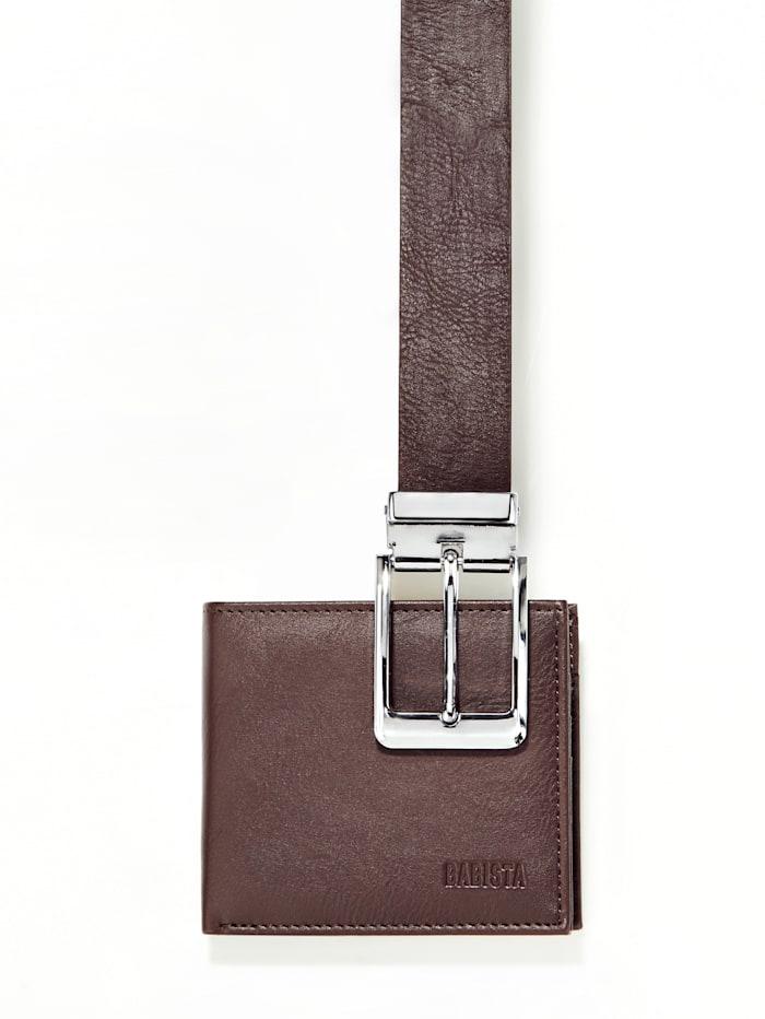 Set composé d'une ceinture et d'un porte-monnaie, Marron foncé