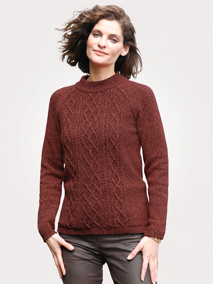 MONA Jumper in a textured knit, Burnt Orange/Terracotta