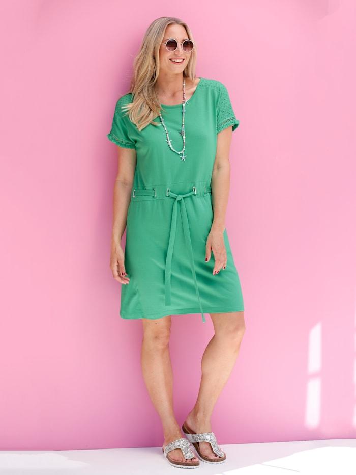 MIAMODA Jerseykleid mit Lochstickerei und Fransen, Grün