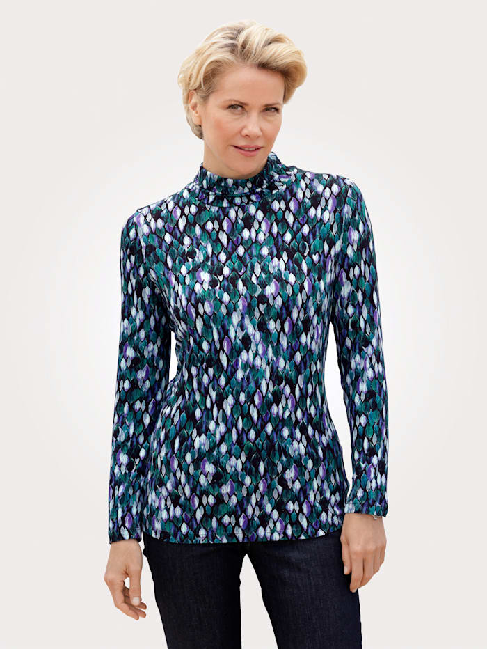 MONA Shirt mit modischem Grafikdruck, Marineblau/Blau
