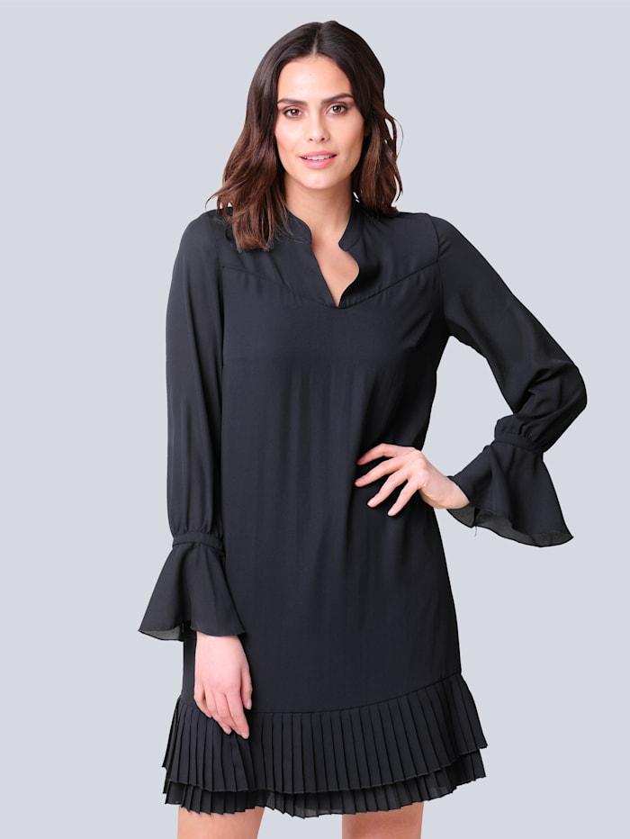 Alba Moda Kleid mit plissierter Rüsche, Marineblau