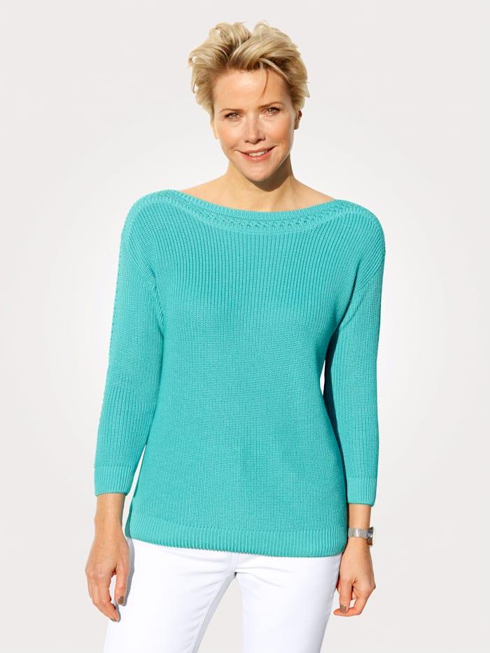 MONA Pull-over en coton Pima, Turquoise