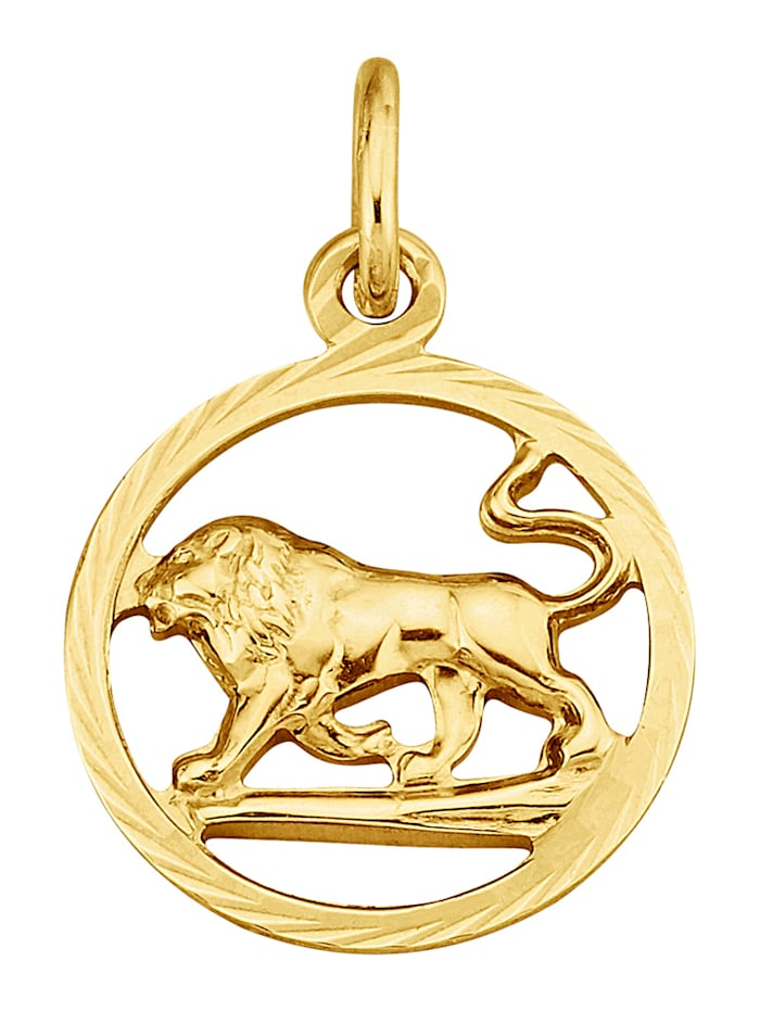 Pendentif Signe du zodiaque Lion en or jaune 375, Coloris or jaune