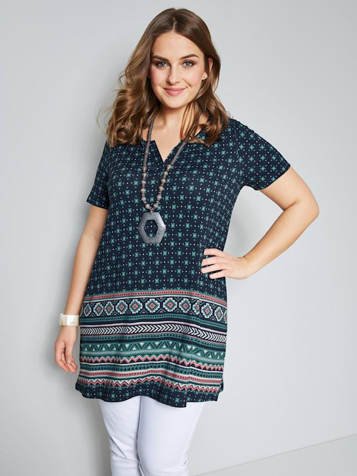 Janet & Joyce Tunika-Shirt mit grafischem Druck, Eisblau/Marineblau