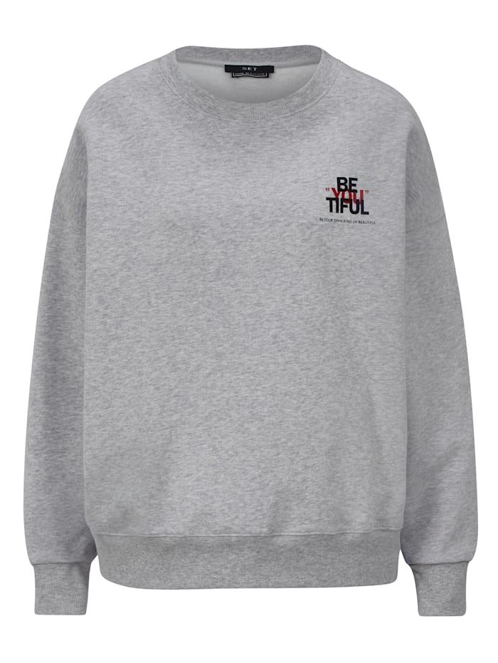 SET Sweatshirt mit Schriftzug, Hellgrau