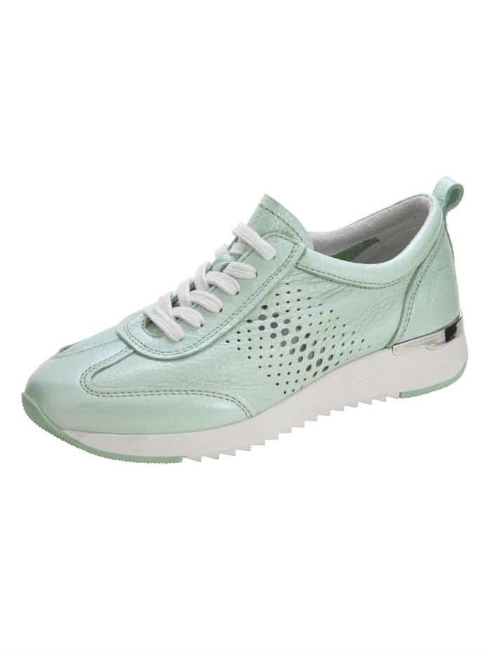 Caprice Sneaker aus handschuhweichem Hirschnappaleder, Mintgrün