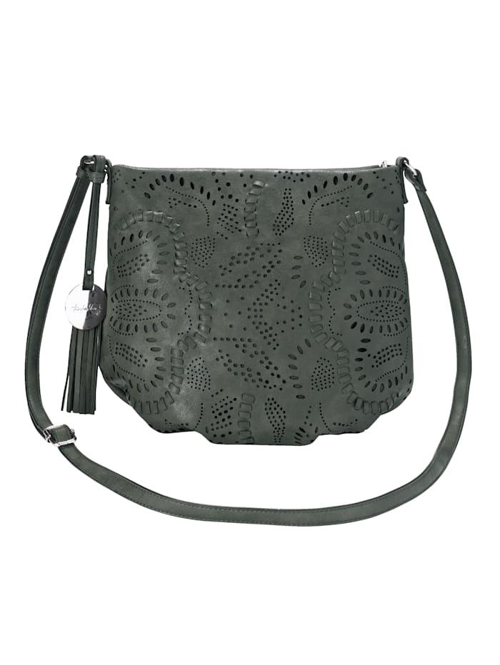 Taschenherz Umhängetasche mit floraler Perforation, dunkelgrün