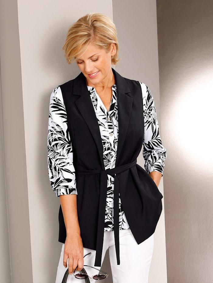 Paola Mouwloos vest in trendy model, Zwart