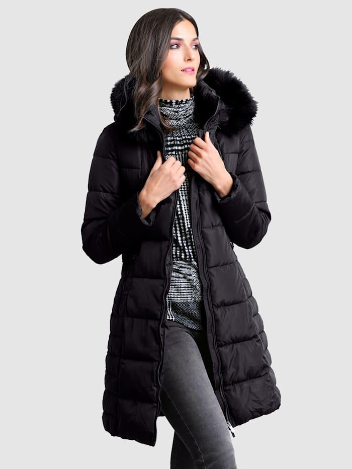 Alba Moda Manteau avec empiècement en fausse fourrure, Noir