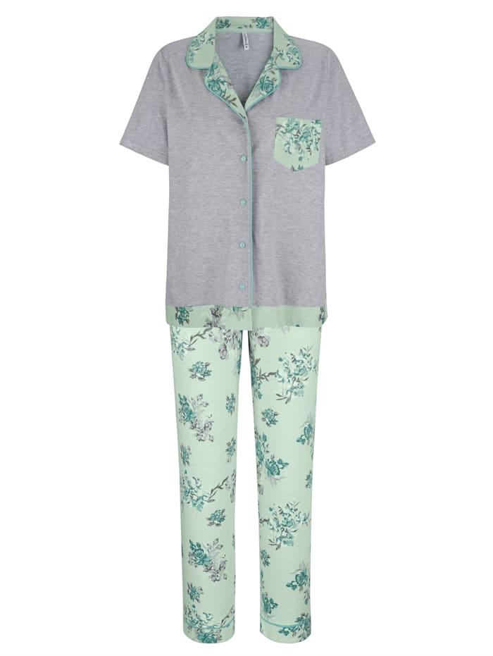 MONA Pyjamas i bomull från Cotton made in Africa-programmet, Lindblomsgrön/Grå/Benvit