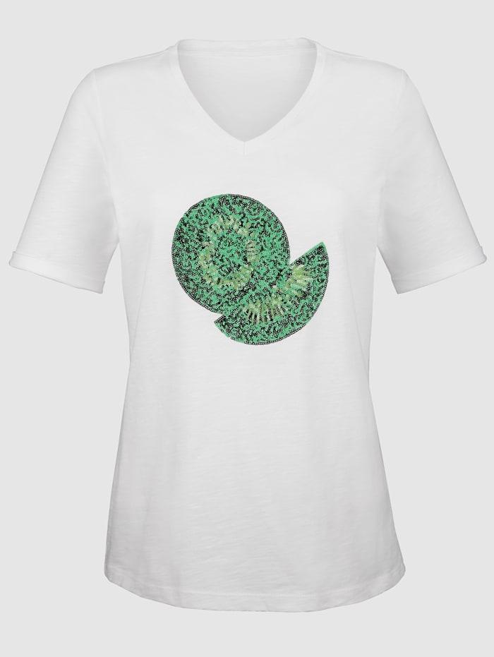 Shirt mit Kiwi aus Pailletten im Vorderteil
