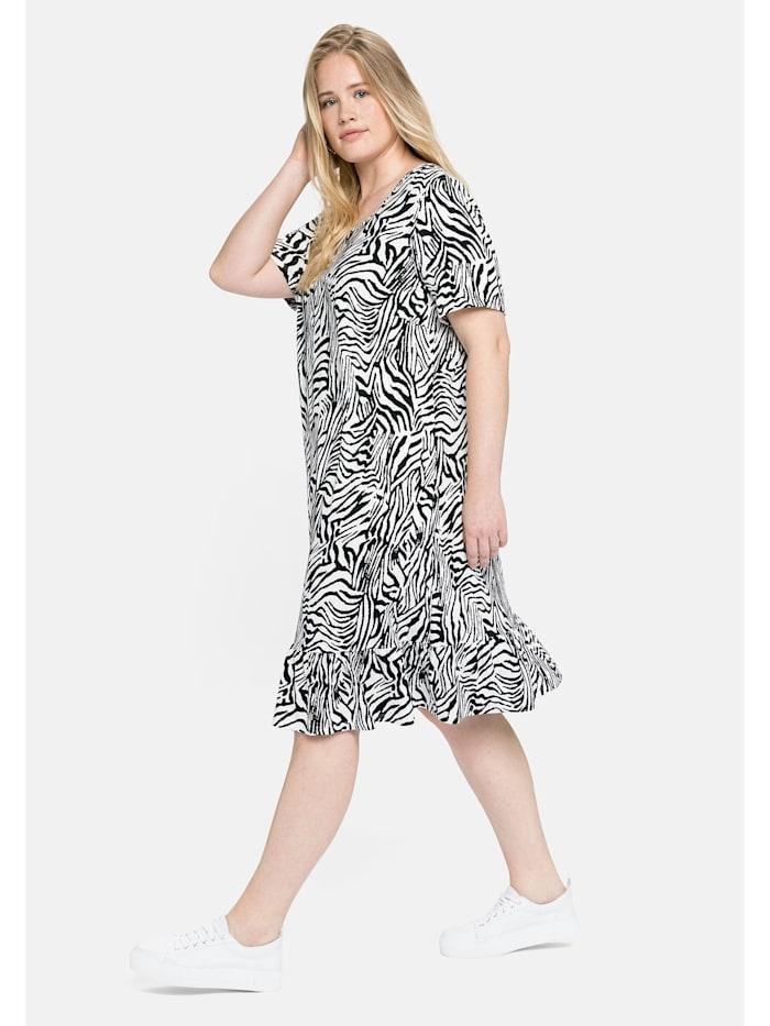 Sheego Jerseykleid mit Animal-Alloverdruck, weiß-schwarz