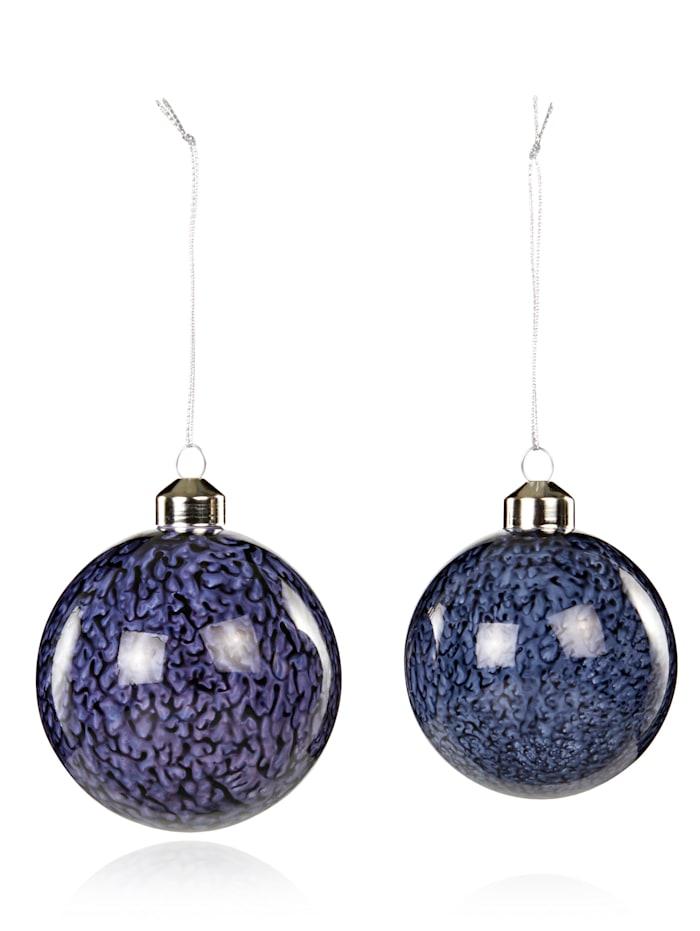 Hübsch Weihnachtskugel 2tlg, blau/weiß
