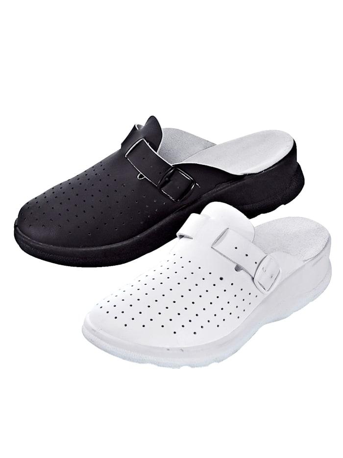 Belafit Mules 2 paires, Blanc/Noir