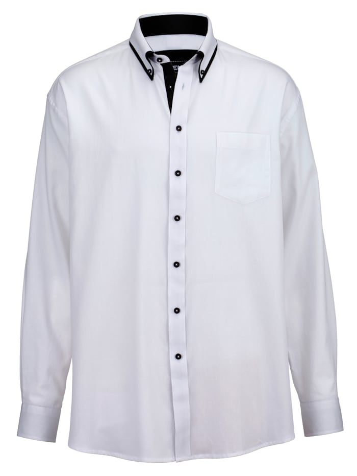 Men Plus Košeľa v špeciálnom strihu, Biela/Čierna
