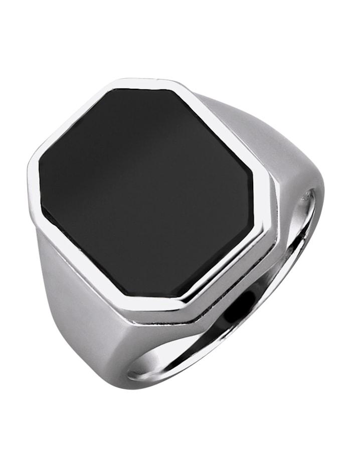 Herenring van echt zilver, Zwart