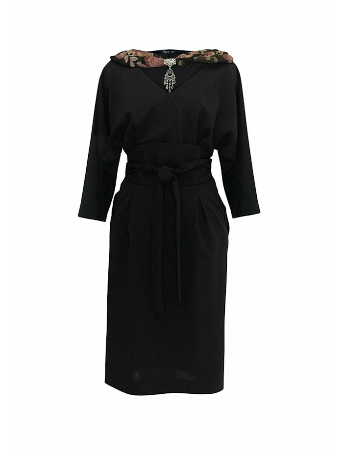 Wisell Abendkleid Midikleid mit V-Ausschnitt und Gürtel, schwarz