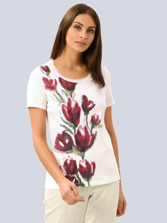 Alba Moda Shirt mit Alba Moda exklusivem Dessin, Weiß/Rot