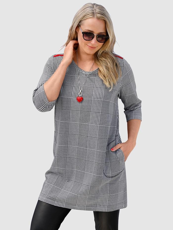 MIAMODA Sweatshirt in Longform, Schwarz/Weiß
