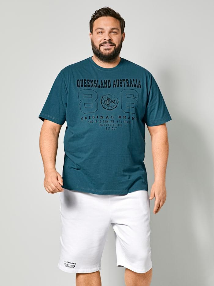 Men Plus T-Shirt aus reiner Baumwolle, Petrol/Schwarz