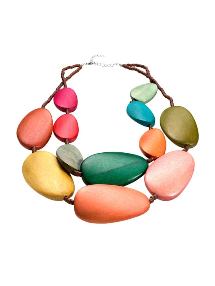 Collier met multicolor houten elementen, Multicolor
