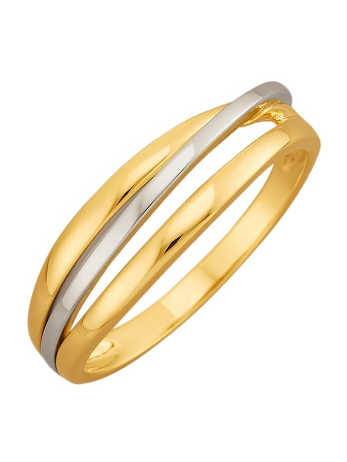 Diemer Gold Damenring in Gelb- und Weißgold 585, Gelbgoldfarben