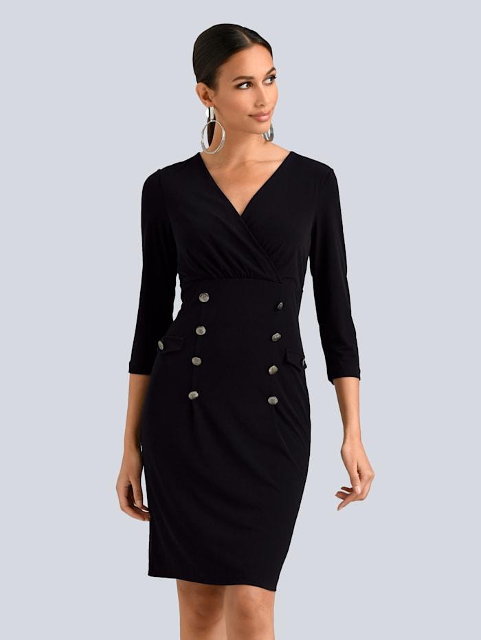 Alba Moda Kleid mit dekorativen Logo-Knöpfen vorne, Schwarz