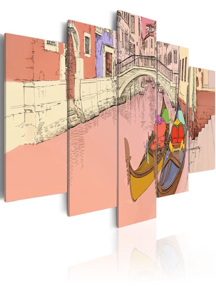 artgeist Wandbild Romantic gondolas - 5 pieces, Creme,rosa