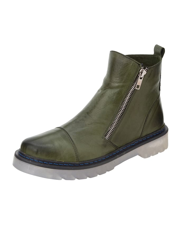Gemini Ankle boots made from leather, Olive