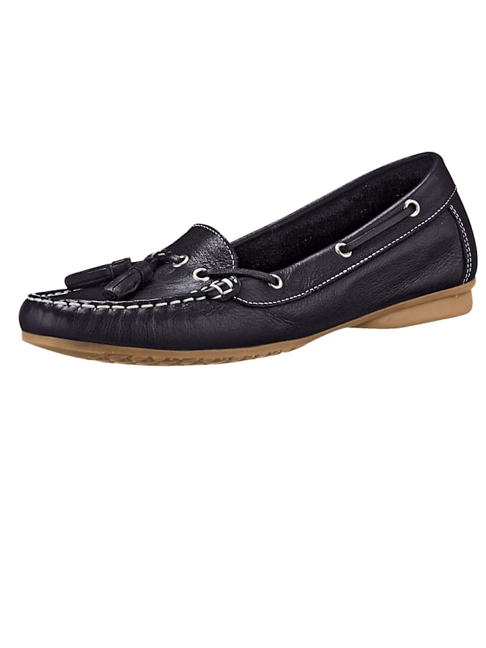 Liva Loop Moccasins made from leather, Black