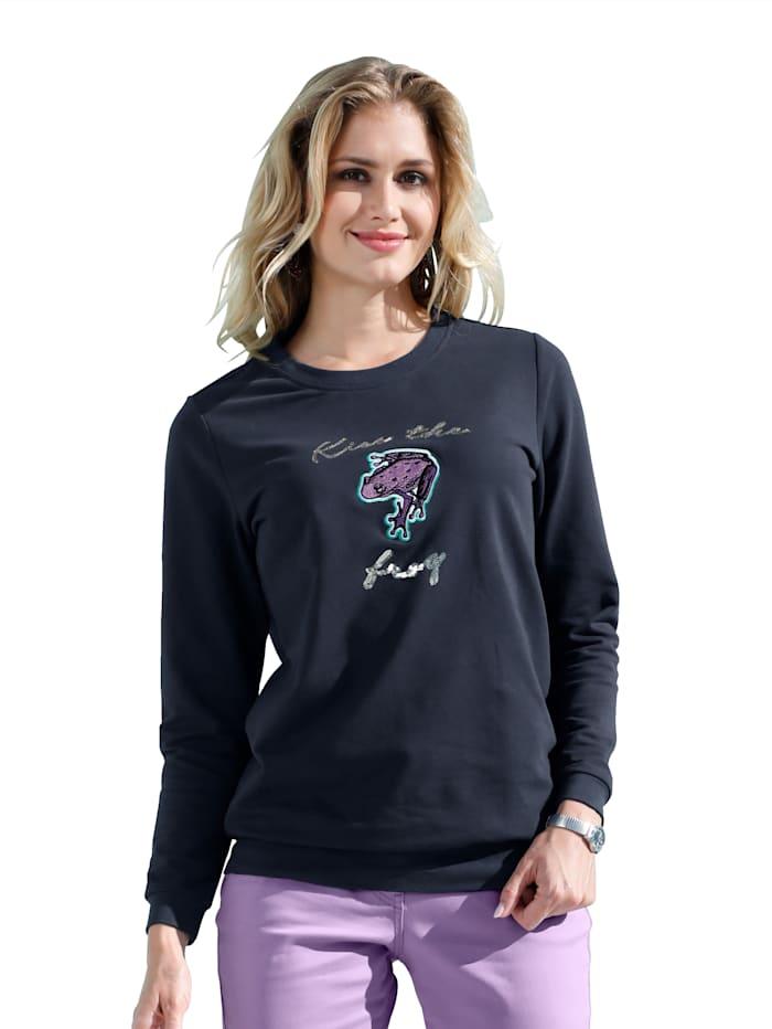 Sweatshirt mit Pailletten und Applikation