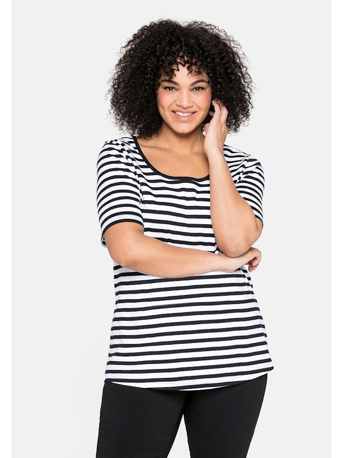 Sheego T-Shirt aus reiner Baumwolle, schwarz-weiß