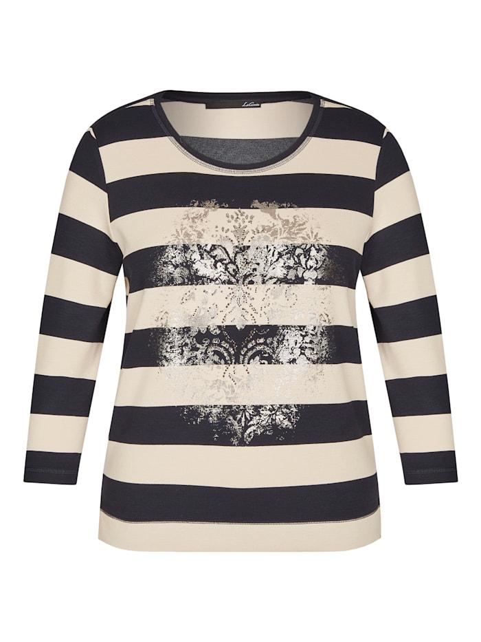 Le Comte Shirt mit Ringeln und Foil-Print, TIEFBLAU