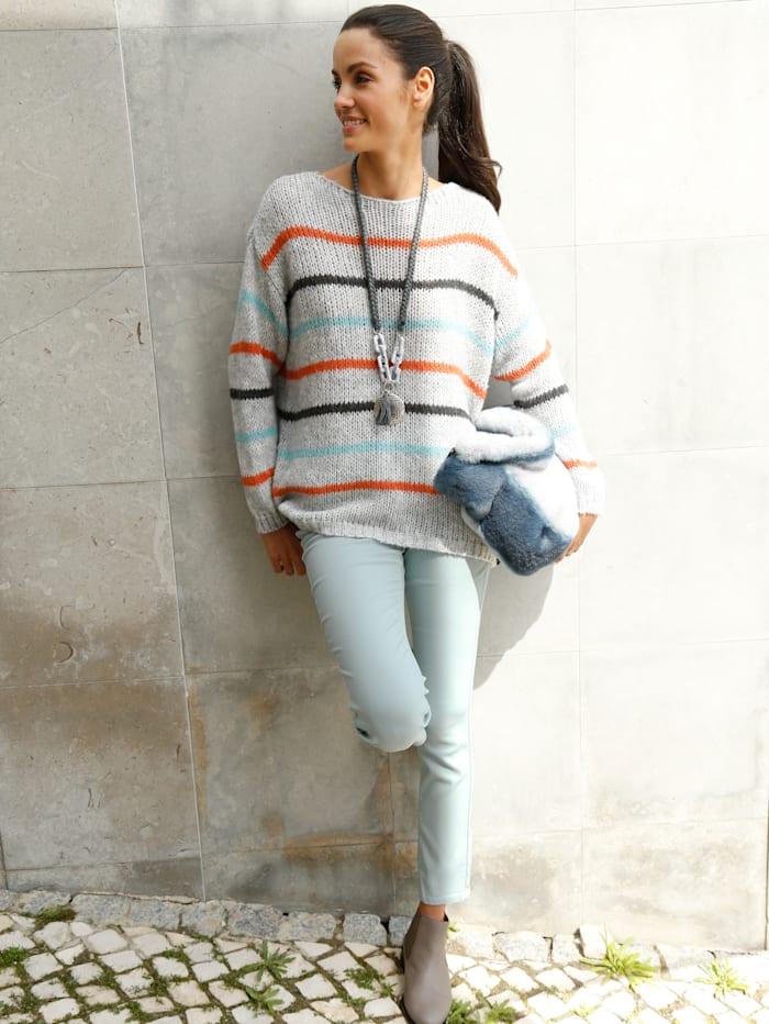 AMY VERMONT Pullover im Streifen-Dessin, Grau/Orange/Blau