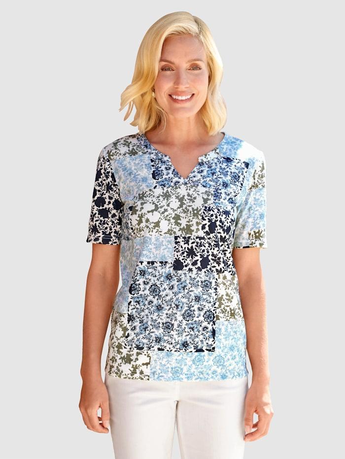 Paola Shirt mit Patchdruckmotiv, Marineblau/Hellblau/Off-white