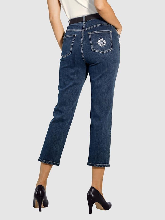 Paola 7/8-jeans med broderi på bakfickan, Blå